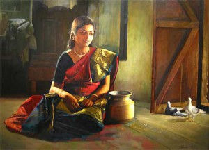 Paintings of rural indian women - Oil painting (14)